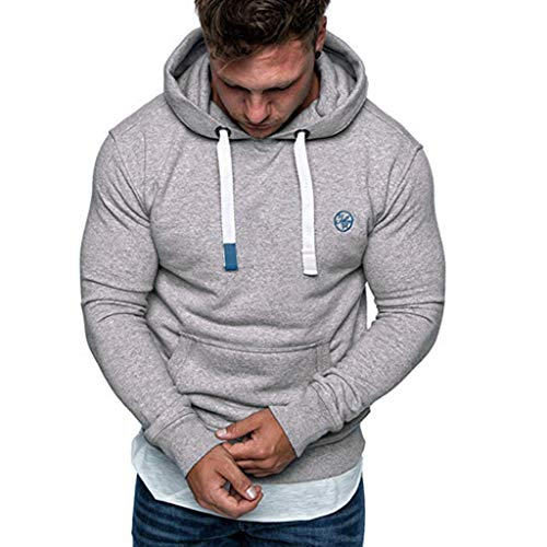 Best Prices! ANJUNIE Men's Heavy Blend Fleece Hooded Sweatshirt Autumn Solid Color Hoodies Outwear T...