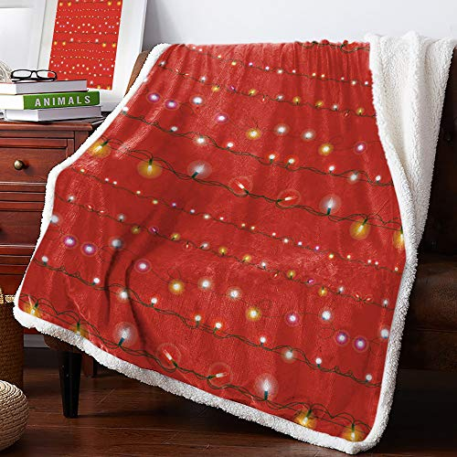 Sherpa Fleece Blanket Christmas Red String Lights Decoration Bed Blanket Soft Cozy Luxury Blanket 50'x60' - Fuzzy Thick Reversible Super Warm Fluffy Plush Microfiber Throw Blanket for Couch