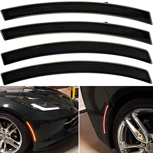 Smoked Lens Amber Chevy Corvette C7 LED Front Rear Side Marker Lamps for 2014 2015 2016 2017 2018 2019 Chevrolet Corvette C7 Red LED Turn Singal Light Kits OEM Sidemarker Lamps Replacement