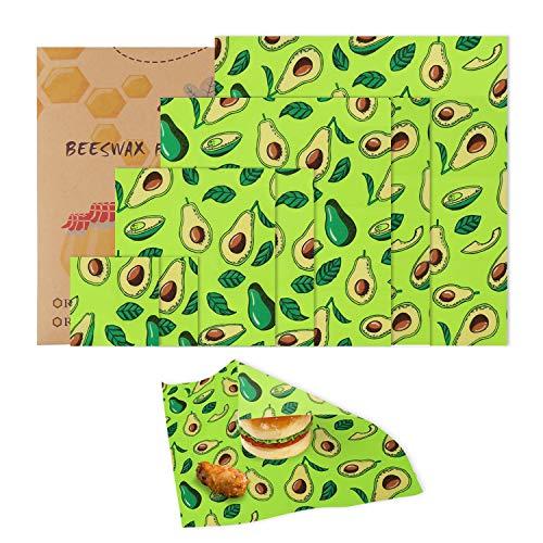 Mitening 7 Pcs Envoltorios Cera de Abeja, Reutilizable Envolver, Lavables, Eco Friendly, Zero Waste, 4 Tamaños, Beeswax Wrap Mantiene Alimentos Fresco para Sándwich, Bocadillos, Frutas, Vegetales etc