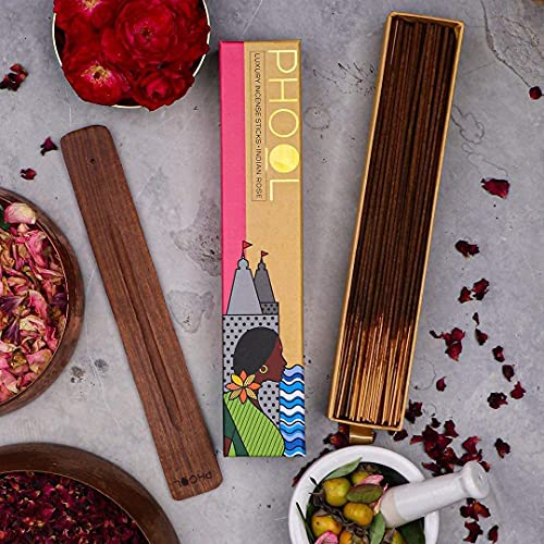 Phool Natural Organic Indian Rose Incense Sticks (Agarbatti), 40 Sticks (Pack of 5)