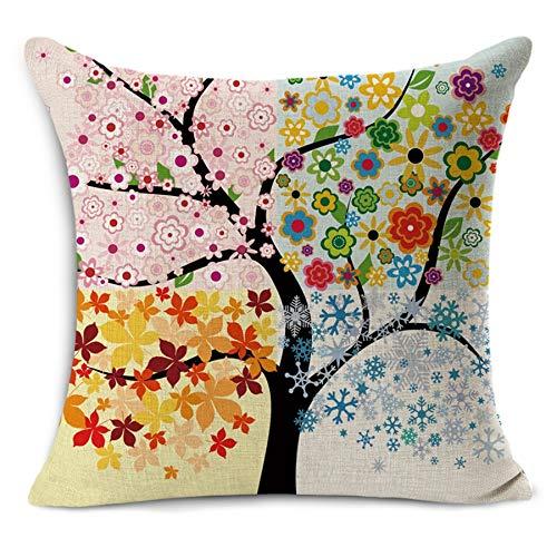 yywl Cojín decorativo infantil para la temporada de Europa, árboles impresos, de algodón, lino, sin relleno