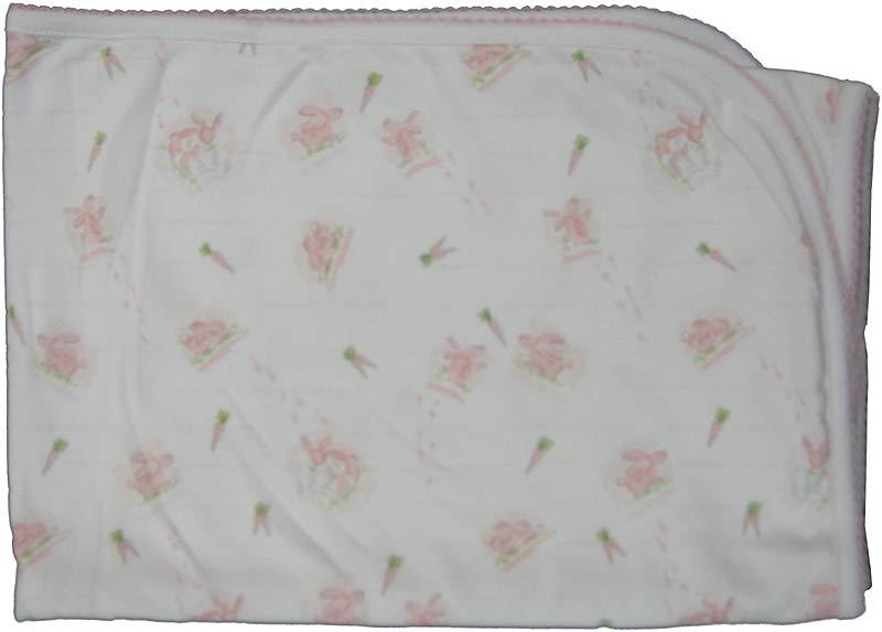 Kissy Kissy Baby Girls Infant Bunny Patch Print Receiving Blanket
