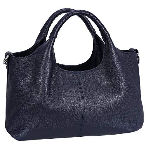 Iswee Womens Leather Handbags Tote Bag Shoulder Bag Top Handle Satchel Designer Ladies Purse Hobo Crossbody Bags (Navy Blue)