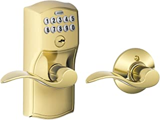 Schlage FE575 CAM 505 Acc Camelot Keypad Entry with Auto-Lock and Accent Levers, Bright Brass
