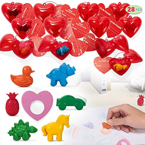 JOYIN 28 Packs Valentines Day Prefilled Hearts with Valentine Cards Filled with Crayons for Valentine Party Favor, Classroom Prize Supplies, Valentine's Greeting Gifts