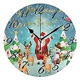 Jacque Dusk Reloj de Pared Moderno,Feliz Navidad Santa Claus Reno árbol de Navidad,Grandes Decorativos Silencioso Reloj de Cuarzo de Redondo No-Ticking para Sala de Estar,25cm diámetro