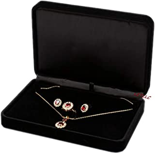 LILY TREACY Deluxe Large Jewelry Set Gift Box Black Velvet for Necklace Earrings Rings Set (Black 170x120x40mm)