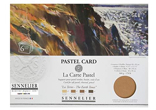 Sennelier Pastel - Tarjeta de Papel de Lija (30 x 40 cm, 6 Hojas de 4 Colores Surtidos) (France Import)