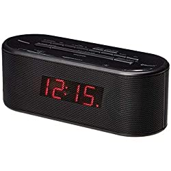 Amazon Basics Alarm Clock with FM Radio, USB Charging Port and Bluetooth