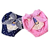 PETCARE Washable Female Dog Diapers Reusable Menstrual Period Cotton Puppy Underwear Cute Bow Doggy Physiological Pants for Small Medium Dogs Cats,Pack of 2,Waist 11'-14'