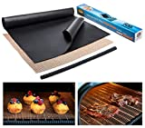 Large Thick Heavy Duty Non Stick Teflon Oven Liners - Oven Liner Pack of 2 and Grill Mesh Oven Mat...