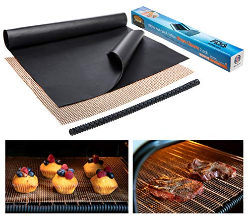 Large Thick Heavy Duty Non Stick Teflon Oven Liners  Oven Liner Pack of 2 and Grill Mesh Oven Mat 16quotx 23quot BPA and PFOA Free for Bottom of Electric Oven Gas Oven Microwave Charcoal or Gas Grills