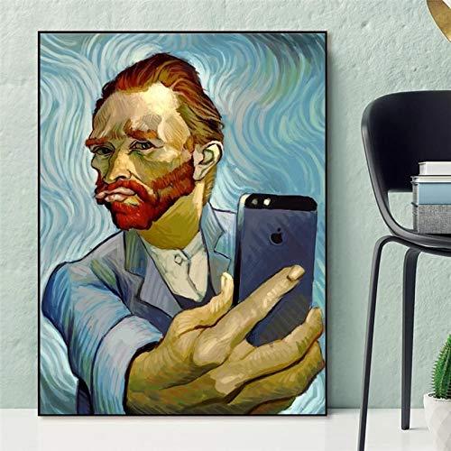 Pintura en lienzo Arte divertido Van Gogh Selfie por teléfono Retrato abstracto Carteles de Van Gogh Impresiones Cuadros de pared para decoración del hogar-30x40cm Sin marco
