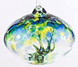 Milford Collection Orb Tree of Life Small Glass Globe - Sea Green