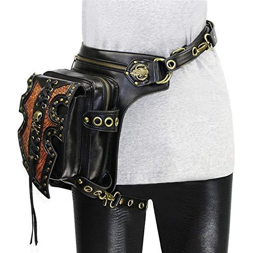 LHYLHY Steampunk - Bolsos de hombro en la cintura de mujer para hombre - Funda para muslo - Cinturón para el muslo - Bolso bandolera - Portable (color: 87Black)