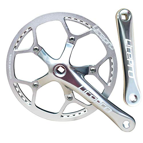 MZZG Bielas de una Velocidad 53T 56T 58T 170 mm Brazos de bielas Juego de bielas de Bicicleta Plegable con Cubierta Protectora para Bicicleta de una Sola Velocidad, Engranaje Fijo,Plata,56T