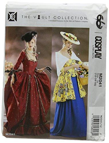 McCall's Patterns MCC 2041 HIST Costumes McCall's M2041 12-16 Schnittmuster für Damen Cosplay mit Knochen Miederrock und Schal 2 Styles
