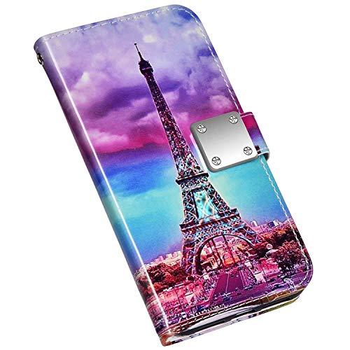 Jinghuash Compatible con iPhone 6 Plus/6S Plus, funda brillante 3D, funda de piel con tarjetero, funda de piel, cierre magnético, torre de hierro