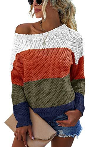 Spec4Y Pullover Damen Langarm Schulterfrei Leichte Streifen Farbblock Rundhals Lässiger Strickpullover Sweatshirts 2072 Orange Medium