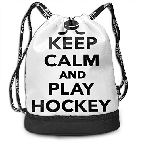 DDHHFJ Multifunctional Drawstring Backpack for Men & Women, Keep Calm and Play Hockey Quote with Sticks In Black and White Competition Sports,Travel Bag Sports Tote Sack with Wet & Dry Compartments
