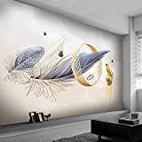 Msrahves Foto Mural Pared 3D Moda abstracto plumas 250X200CM Fotomurales 3D Foto-Mural Simplicidad Moderna Sala De Estar Dormitorio Oficina Tv Fondo Pared Decoración Fotomural Vinilo