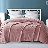 Exclusivo Mezcla Twin Size Jacquard Weave Leaves Pattern Flannel Fleece Velvet Plush Bed Blanket for Couch Bed Sofa (90' x 66',Pink) - Soft, Lightweight, Warm and Cozy