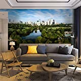 Wallpaper Wall Mural Atlanta Skyline with Lake Lake Clara Self Adhesive Removable Peel & Stick Wall Decor Home Craft Wall Decal Wall Poster Sticker for Living Room