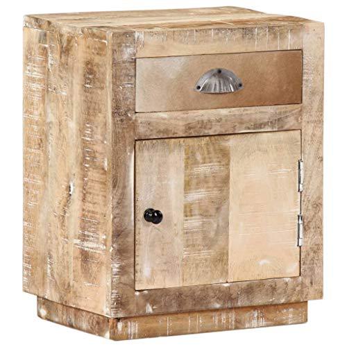 vidaXL Mangoholz Massiv Nachttisch mit 1 Schublade 1 Tür Vintage Nachtschrank Nachtkonsole Nachtkommode Schlafzimmer Kommode Schrank 40x30x50cm