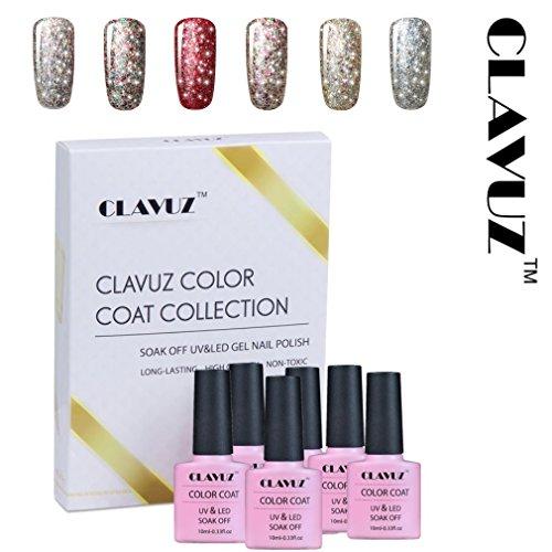 Vernis à Ongles Semi-Permanent Vernis Gel UV 6pcs Nail Art Kit Manucure Etoile Lumineuse 10ml dans la boîtee-Cadeau Clavuz-kit005