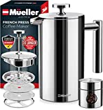Mueller French Press 20% Heavier Duty Double Insulated 310 Stainless Steel Coffee Maker 4 Level Filtration System 100% No Coffee Grounds Guarantee, Rust-Free, Dishwasher Safe
