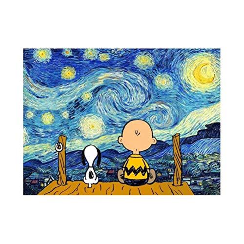 Kit per pittura con numeri per principianti, fai da te per adulti e bambini, 40 x 50 cm, per pittura a olio fai da te, kit di pittura per bambini e adulti, Snoopy e Charlie Brown