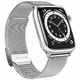 Fengyiyuda Correa Compatible con Apple Watch Correa 38 mm 42 mm 40 mm 44 mm para Mujeres Hombres, Bandas de Metal de Acero Inoxidable con Hebillas Ajustables para Iwatch Series SE/6/5/4/3/2/1