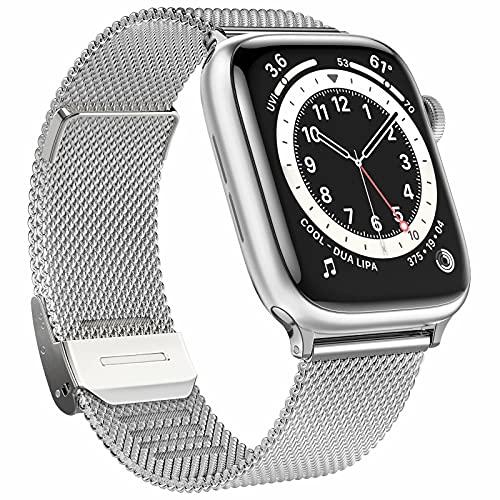 Fengyiyuda Correa de repuesto compatible con reloj de pulsera, de metal y acero inoxidable con Watch Series SE 6 5 4 3 2 1, plata, 38/40 mm