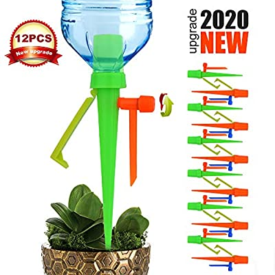 LAVIZO ?New Upgrade? Plant Self Watering Spikes Devices with Slow Release Control Valve Switch Automatic Irrigation Drip Watering System, for Preventing Stop Water with Anti-Tilt Bracket-12PACK from LAVIZO