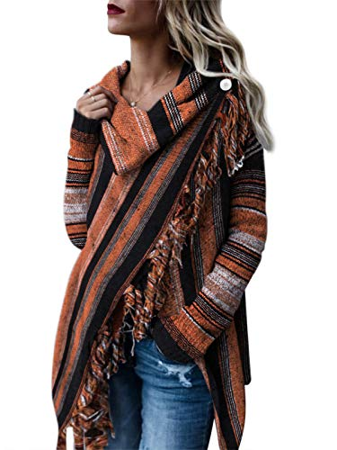 Style Dome Womens Cardigan Poncho Jumpers Ballet Waterfall Cardigan Longline Wrap Knited Jumper Long Sleeve Tunic Tops Cape Shawls Scarf Pullover Sweater Coat Orange and Black Stripe 12-14