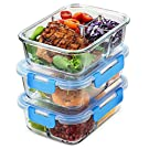 Airtight Food Storage Containers with Lids 3 Compartment- Set of 3 Food Containers - Leak Proof Snap-Lid Glass Meal Prep Container Sets - BPA Free, Freezer to Oven/Microwave Safe- 947ml