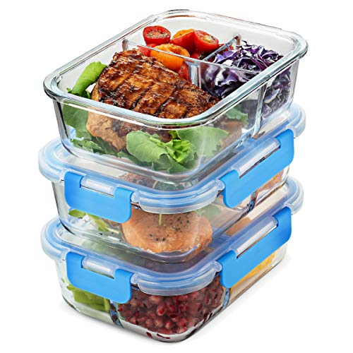 Glass Meal Prep Containers 3-Compartment - 3-Pack 35 Oz. Freezer to Oven Safe Airtight Food Storage Container Set with Hinged Locking Lids BPA Free, Great On the Go Portion Control Lunch Containers