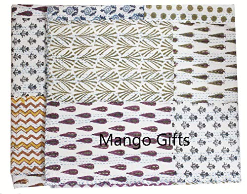 Mango Gifts Pure Cotton Kantha Style Queen Size Patchwork Quilt,Vintage Throw, Indian Block Print Bed Cover 86' X 106' Inches Approx