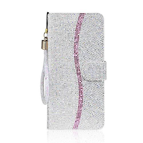Coque pour Xiaomi Redmi Note 8, SONWO Glitter Portefeuille Housse en Cuir Etui Protection pour Xiaomi Redmi Note 8, avec Fonction Stand, Argent