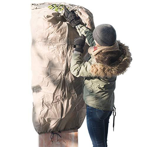 AFP Winterschutz-Vlies Thermomantel XXL, beige, Ø 200 x 300cm, 70g/qm Überwintern von Olivenbaum, Palme/Frostschutz Kübel-Pflanzen/Reißverschluss & Kordel / 2 Jutesäckchen gratis