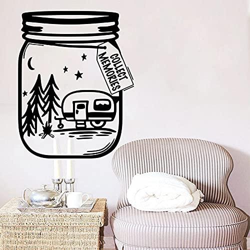 Recoger recuerdos Botella Camping Viaje Camper Adventure Time Fogata Vinilo Etiqueta de la pared Calcomanía Niño Niños Dormitorio Oficina Club Decoración para el hogar Mural