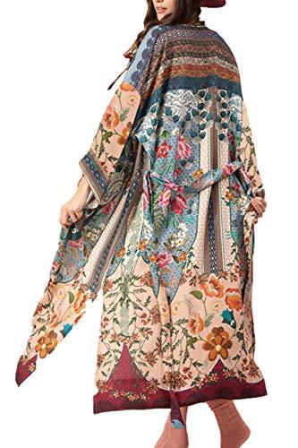 L-Peach dames lange doek bedrukt Kimono strandjurk Pareo voor badpak Cover Ups