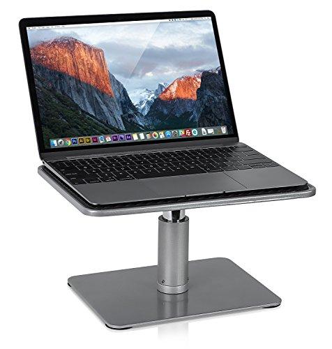 Mount-It! Adjustable Height Laptop Stand for MacBook Pro | Wide Platform Laptop & Monitor Desk Riser | Ergonomic Desk Riser Stand for MacBook and 11-15 Inch Laptops | 24-32 Inch Monitor Stand Riser