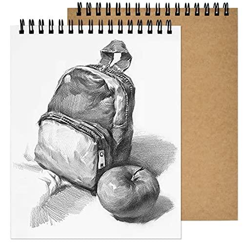2pcs Cuadernos de Bocetos A4, 160g / 120 Caras Bloc de Dibujo Papel, Bloc de Notas en Espiral, Cubierta Kraft Cuaderno Dibujo, Cartucho de Papel Blanco Para Paisaje, Pintura Artista, Acuarela