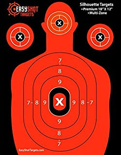 """55-Pack Silhouette Targets for Shooting, High-Visibility Fluorescent Orange, Easy to See Your Shots Land, Heavy-Duty Paper Sheets 18"""" X 12"""" - 150 Free Repair Stickers."""
