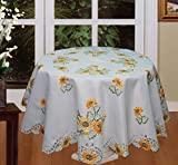 Creative Linens Sunflower Tablecloth Embroidered Cutwork Table Cloth 88' Round with 12 Napkins White