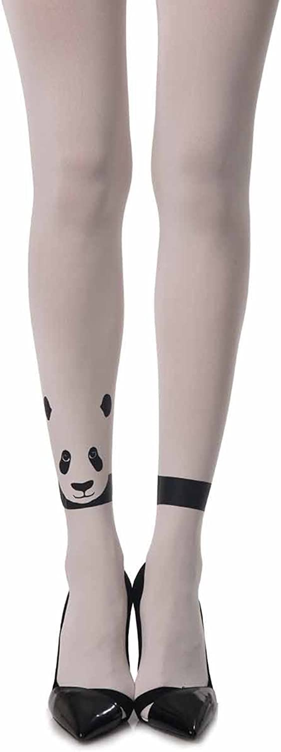 Women's Zoo Lander  Printed fashion Tights White Opaque by Zohara Tights