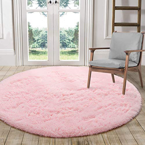 LOCHAS Luxury Round Fluffy Area Rugs for Bedroom Kids Nursery Rug Super Soft Living Room Home Shaggy Carpet 4-Feet , Pink