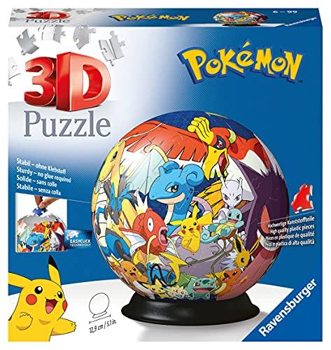 Ravensburger 3D Puzzle 11785 - Puzzle-Ball Pokémon - 72 Teile - Puzzle-Ball für Pokémon Fans ab 6 Jahren